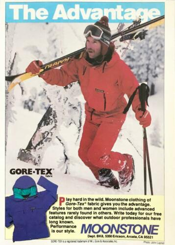 1988 Moonstone Gore-Tex Outdoor Clothing Print Ad Skier Hiking Up Mountain