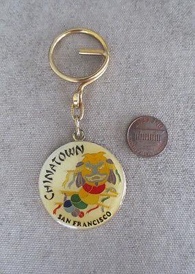 Vintage Chinatown San Francisco Key Ring Enamel Chinese Dragon 1980 Souvenir