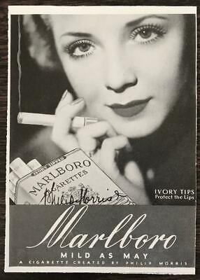 - 1937 Marlboro Cigarettes Print Ad Mild As May Ivory Tips Protect the Lips