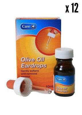12 x CARE OLIVE OIL EAR DROPS FOR THE LOOSENING & REMOVAL OF EAR WAX 10ml Oil Ear Wax
