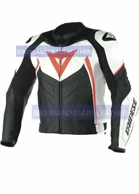 New Men's Black Racing Motorcycle Cowhide Leather Jacket safety pads. All sizes