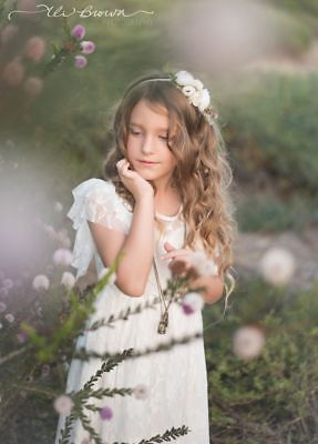 White Long Lace Flower Girl Dress Birthday Wedding Communion Boho Ellura Sage Sage Flower Girl