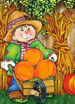 #112A  AUTUMN  FALL HAPPY SCARECROW AND PUMPKINS LARGE HOUSE FLAG 28X40 BANNER
