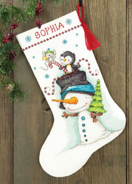 "Jolly Trio Chrismtas Stocking Counted Cross Stitch Kit-16"" Long 14 Count"