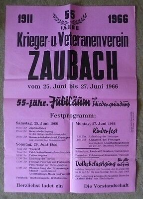 altes Plakat - Krieger- u. Veteranenverein Zaubach b. Stadtsteinach - TK225-1218