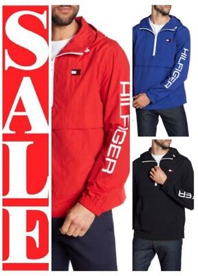 TOMMY HILFIGER Mens 1/2 ZIP GRAPHIC LOGO Spell out HOODED pullover JACKET ()