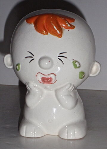 Vintage Mid-Century Crying Baby Hand Painted Pottery Still Bank, RARE