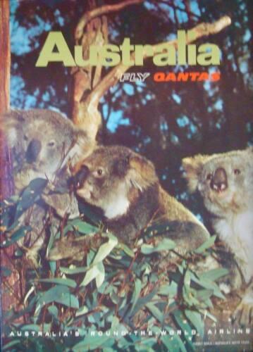 QANTAS AIRLINES AUSTRALIA Vintage 1967 Travel poster 14.5x19 NM KOALAS