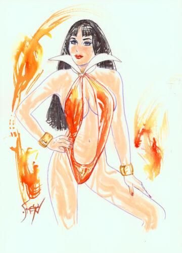Playboy Artist Doug Sneyd Signed Original Comic Art Sketch ~ Vampirella