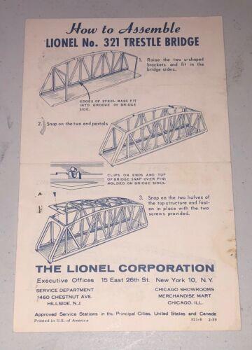Original Lionel No.321 Trestle Bridge Operating Instructions Handbill