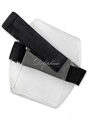 Armband Vertical Photo Id Badge Holder With Elastic Black Strap