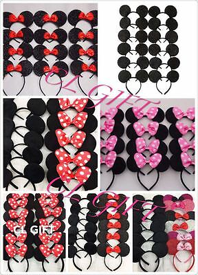 12pc Mickey Minnie Mouse Ears Headband Black/Red/Pink Bow Party Favors Costume (Minnie Mouse Stuff)