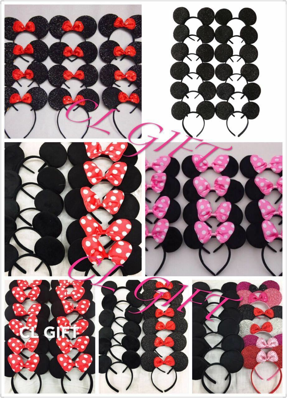 12pc Mickey Minnie Mouse Ears Headband Black/Red/Pink Bow Pa