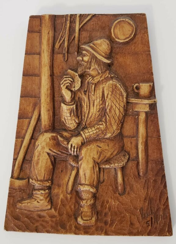 Wood Carved Man Signed by Artist Quebec Montreal Canada Folk Wall Art