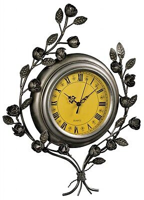 Vintage Antique Silver Wall Clock NEW Floral Entwined Roses Leaves Yellow  Face