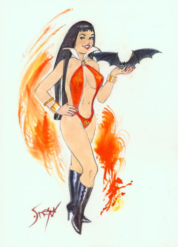 Playboy Artist Doug Sneyd Signed Original Comic Art Sketch ~ Vampirella