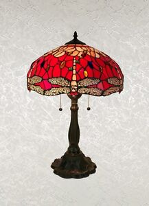 Dragonfly lamp shade ebay beautiful tiffany style red dragonfly table lamp shade 16 mozeypictures Images