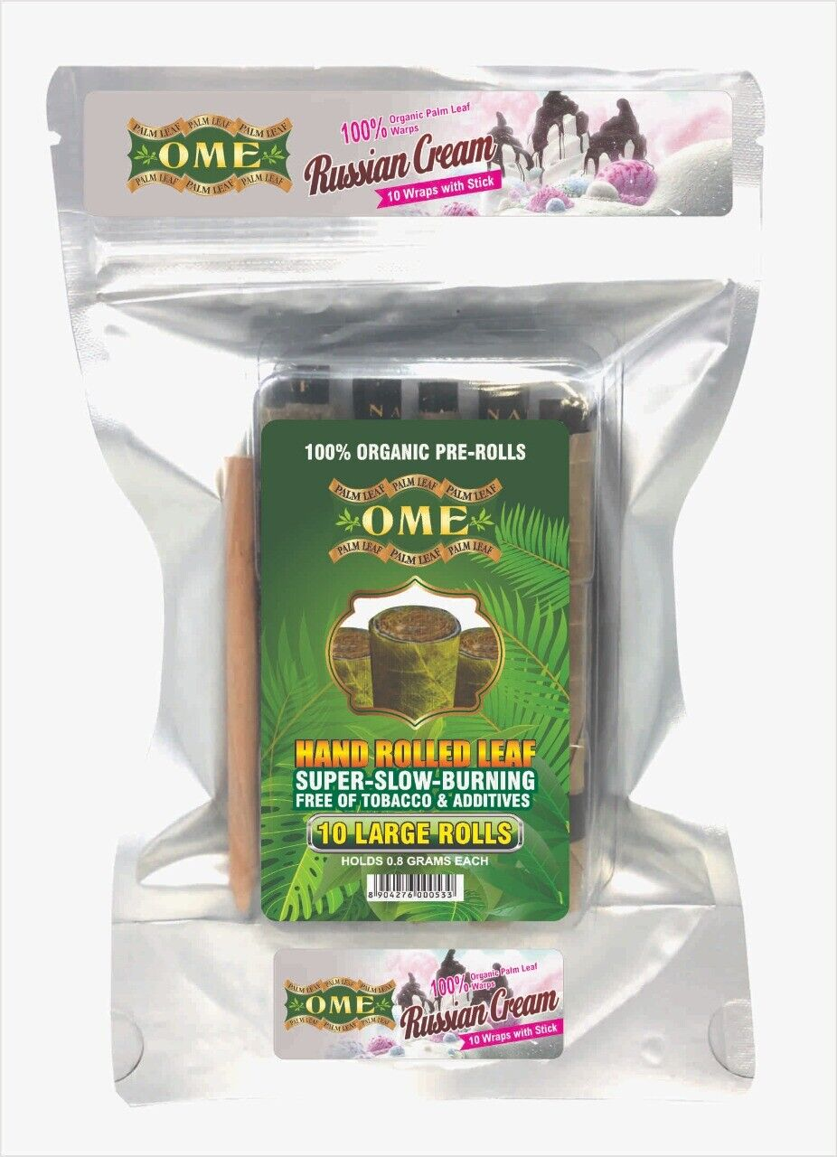 Palm Leaf Flavored Organic Natural Leaf Handmade- 10 Wraps With Stick Brand -OME - $12.99