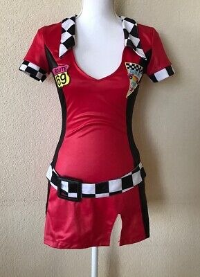 Sexy Costume Dress Racing Theme Red Checkered Flag - S Themen Kostüme