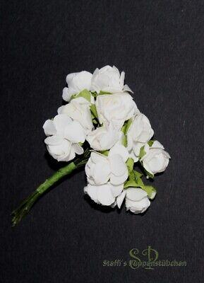 12 Strauß (12 Mini-Rosen im Strauß Papierblumen zum Basteln, Blüte ca. 1,5 cm (#1))