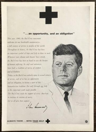 March 1963 Red Cross Print AD 100th Anniversary JFK Message Norman Rockwell Art
