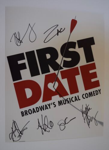 FIRST DATE Broadway Cast Signed Autograph 11x14 Photo By 6 Zachary Levi COA VD