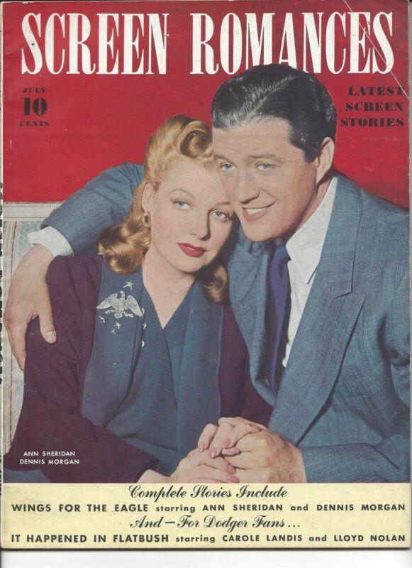 Ann Sheridan, Dennis Morgan - Screen Romances - July 1942
