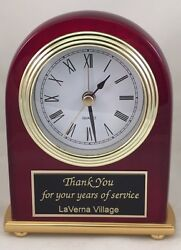 Desk Clock With Alarm Personalized High Gloss Piano Finish - Engraved Free