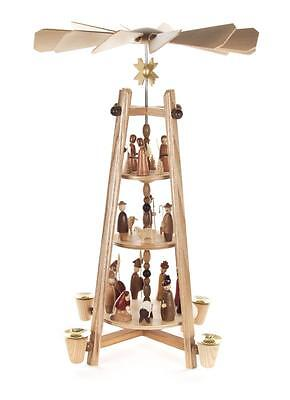 Pyramide Christi Geburt 34cm NEU Volkskunst Erzgebirge Stabpyramide Kerzen Holz
