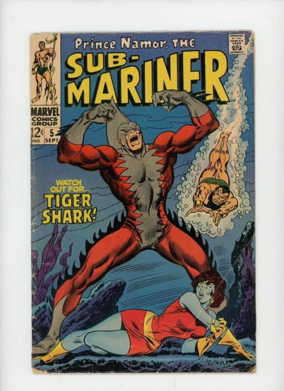 SUB-MARINER #5 | Marvel | September 1968 | Vol 1 | 1st Appearance of Tiger Shark