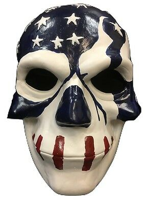 THE PURGE USA FIBERGLASS MOVIE FANCY DRESS MASK CHILD ADULT ELECTION YEAR 3 FLAG