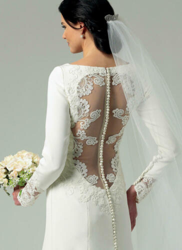 B5779 SEWING PATTERN Bridal Style Wedding Dress Back Extends to Train Size 4-12