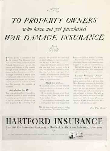 1942 Hartford Insurance PRINT AD Property Owners Need War Damage Insurance