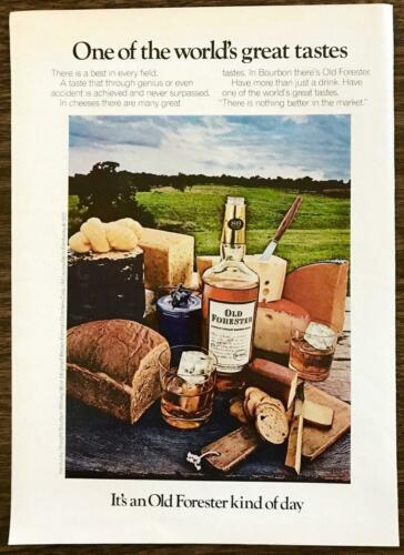 1972 Old Forester Whiskey Print Ad Pastoral Picnic Cheeses Breads Rocks Glasses