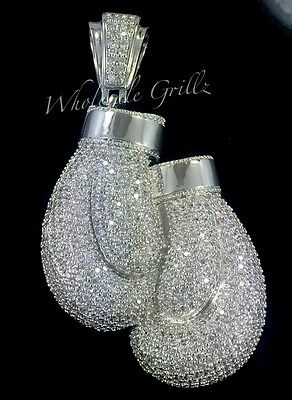 $399 NEW 14K White Gold GP BOXING GLOVES Simulate Diamond RARE CUSTOM PENDANT!! 14k Gold Boxing Gloves