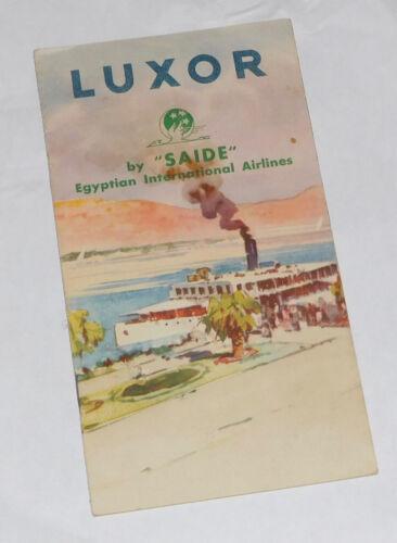 "Luxor Egypt, By ""SAIDE"". Egyptian International Airline Travel Brochure. 1940s."