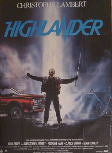 HIGHLANDER - LAMBERT / CONNERY - ORIGINAL LARGE FRENCH MOVIE POSTER