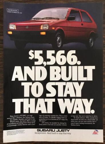 ORIGINAL 1987 Subaru Justy Print Ad Inexpensive and Built to Stay That Way