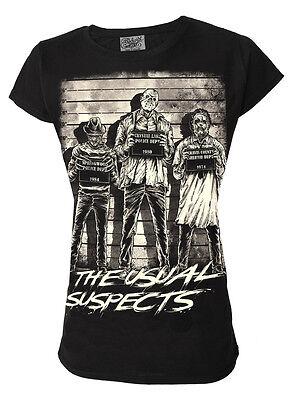 DARKSIDE CLOTHING The Usual Horror Suspects womens t-shirt/top, freddy krueger - Freddy Krueger Top