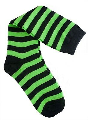 Green and Black Striped Knee High Socks Elf Witch Clown Teen to Adult Size (Green Clown Shoes)