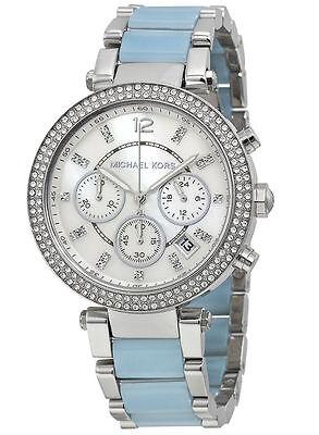 NEW Michael Kors MK6138 Parker Chambray Women Crystals Blue Acetate Steel Watch