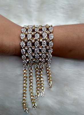 Indian Bridal 18K Gold Plated Bracelet Bangle Wedding Pearl Fashion Jewelry