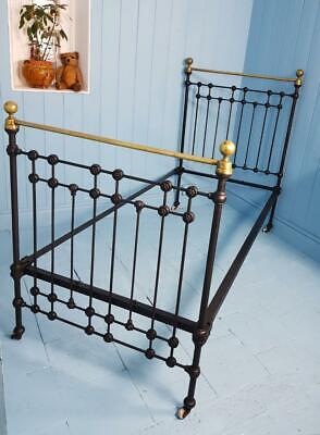BED SINGLE CAST IRON BRASS VICTORIAN 1870 MADE IN SCOTLAND ANTIQUE