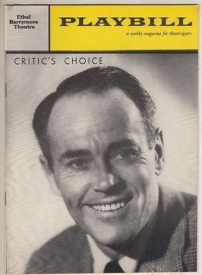 "Henry Fonda   ""Critic's Choice""   Playbill  1961   Broadway  Mildred Natwick"