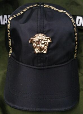 Black Baseball Cap Versace Men's Cotton Snapback Hat