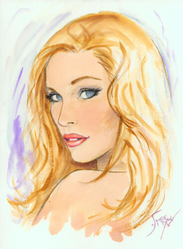Playboy Artist Doug Sneyd Signed Original Art Sketch ~ Blond Bombshell