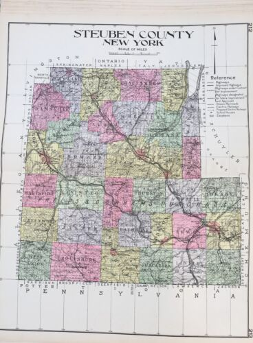 ORIGINAL 1912 STEUBEN COUNTY NEW CENTURY ATLAS MAP COUNTIES OF THE STATE OF NY