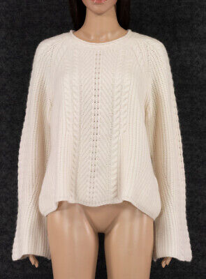 LE KASHA 100% CASHMERE BELL SLEEVES IVORY PULLOVER SWEATER