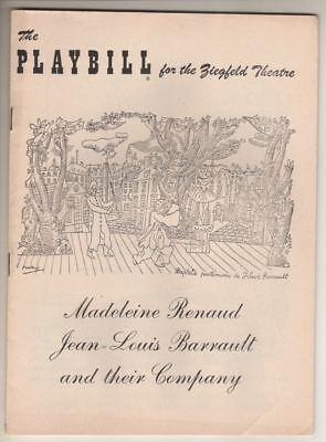Madeleine Renaud & Jean-Louis Barrault & Company   Playbill   1952   BROADWAY