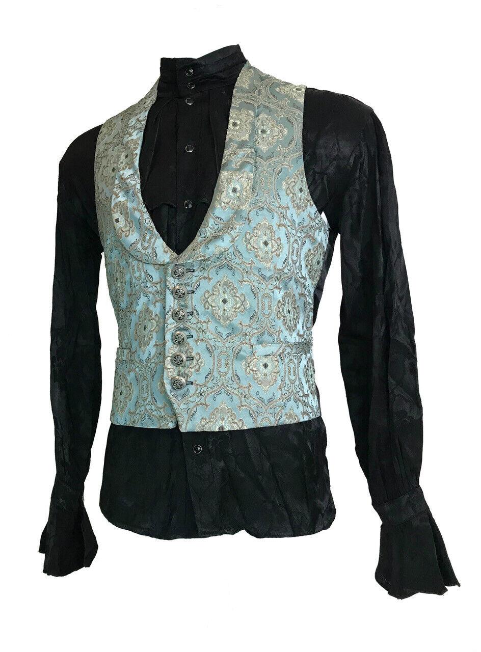 SHRINE MONTE CRISTO GREEN BROCADE ARISTOCRAT VICTORIAN VAMPIRE VINTAGE VEST Clothing, Shoes & Accessories